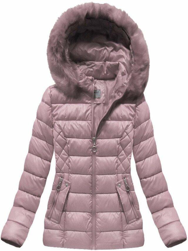 Růžová dámská zimní bunda (B1035-30) - S (36) - růžová