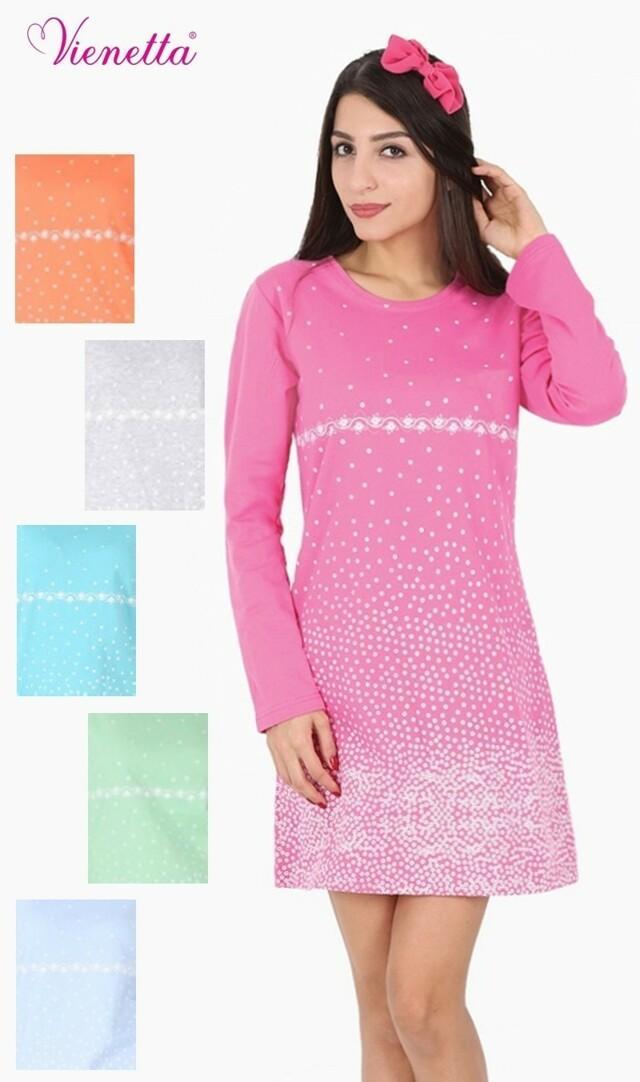 Dámská noční košile s dlouhým rukávem zateplená Vločka - růžová S