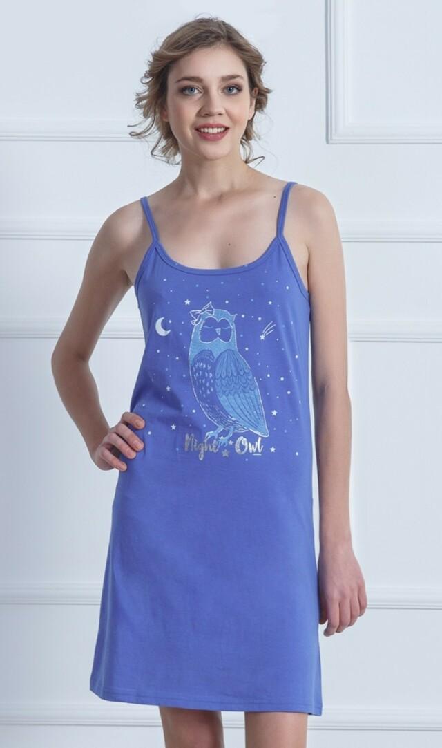 Dámská noční košile na ramínka Sova Pálená - modrošedá S