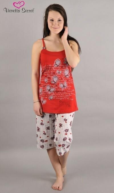 Dámské pyžamo kapri na ramínka Motýli - jahodová XL