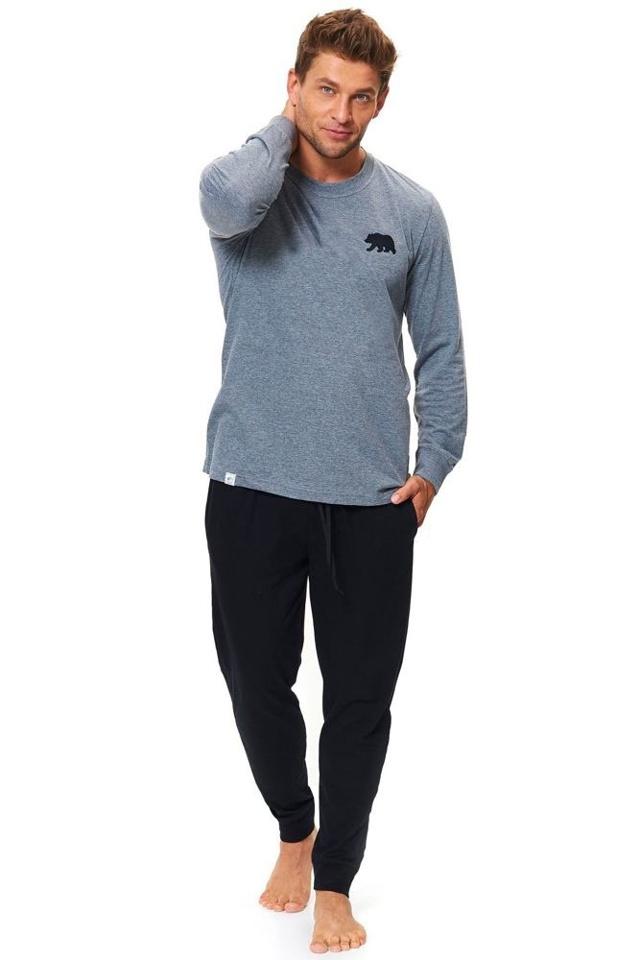 Bavlněné pánské pyžamo Bear šedé - XXL