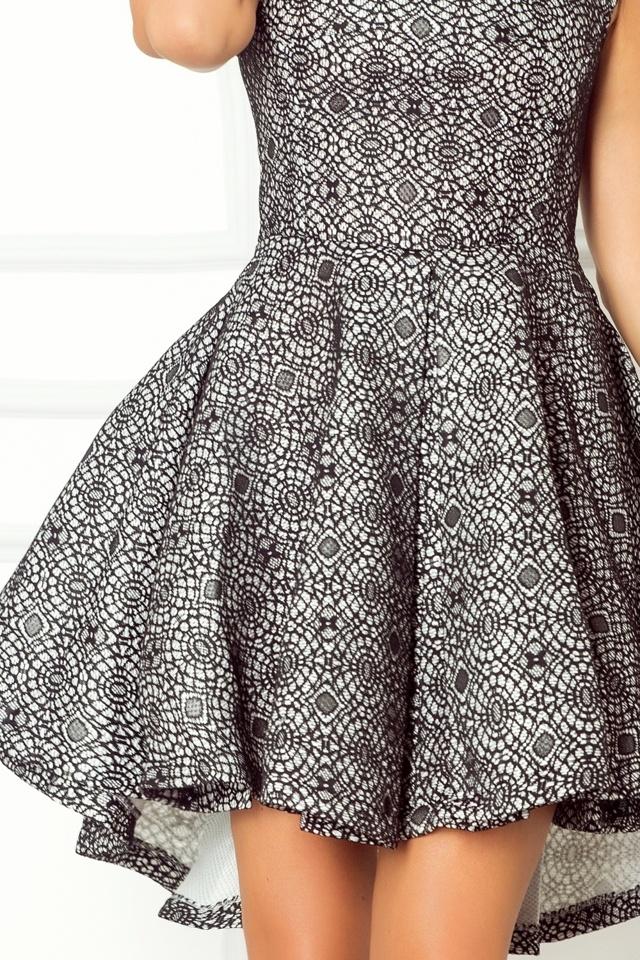 Dámské společenské šaty s asymetrickou sukní krátké bílé s černou krajkou - Černo-bílá / XL - Numoco - XL
