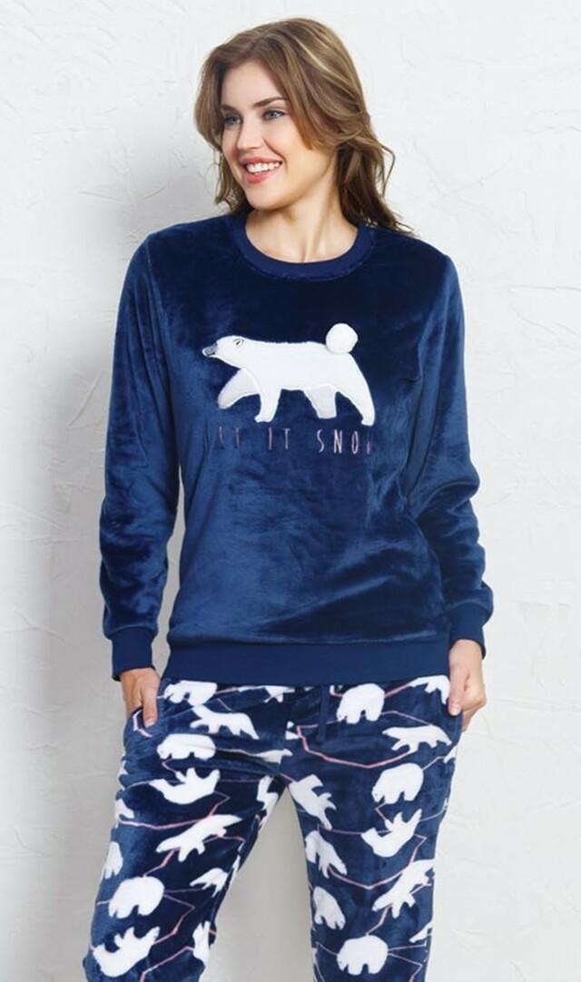 Dámské pyžamo dlouhé Méďa - tmavě modrá L