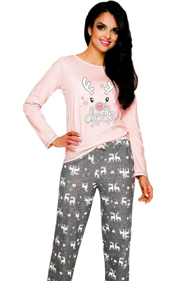 Dámské pyžamo Oda 1193 pink-grey - M - viz foto