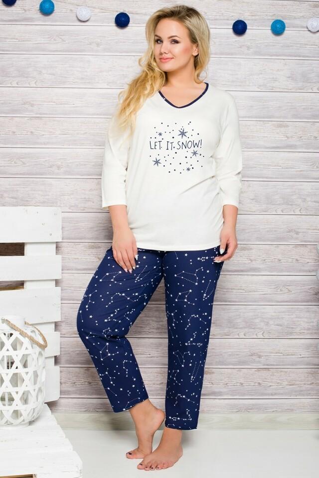 Dámské pyžamo 146 ecru-blue - XXL - krémová