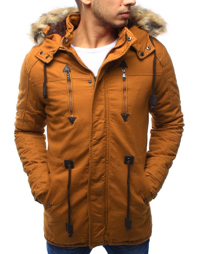 Pánská zimní bunda s kapucí Z-6682 / 6681 (tx1990) - ROSSO - XL - hořčicová