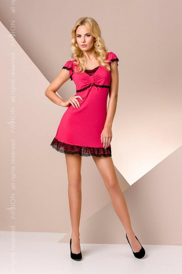 Noční košile Passion PY001 - M - sytě růžová