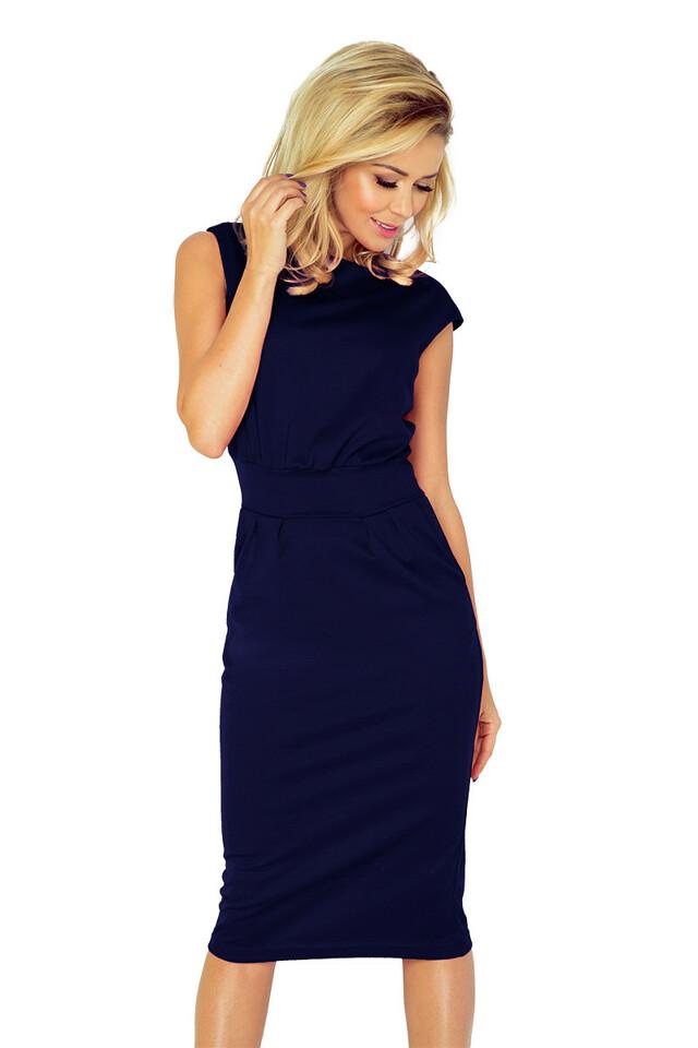 Tmavě modré dámské šaty 144-4 - XL