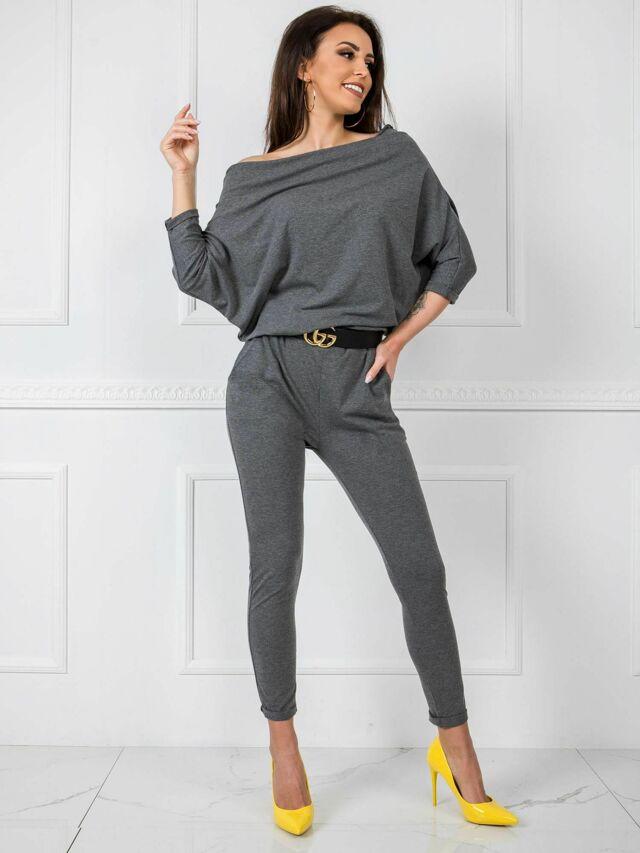 Tmavě šedý bavlněný overal - L / XL
