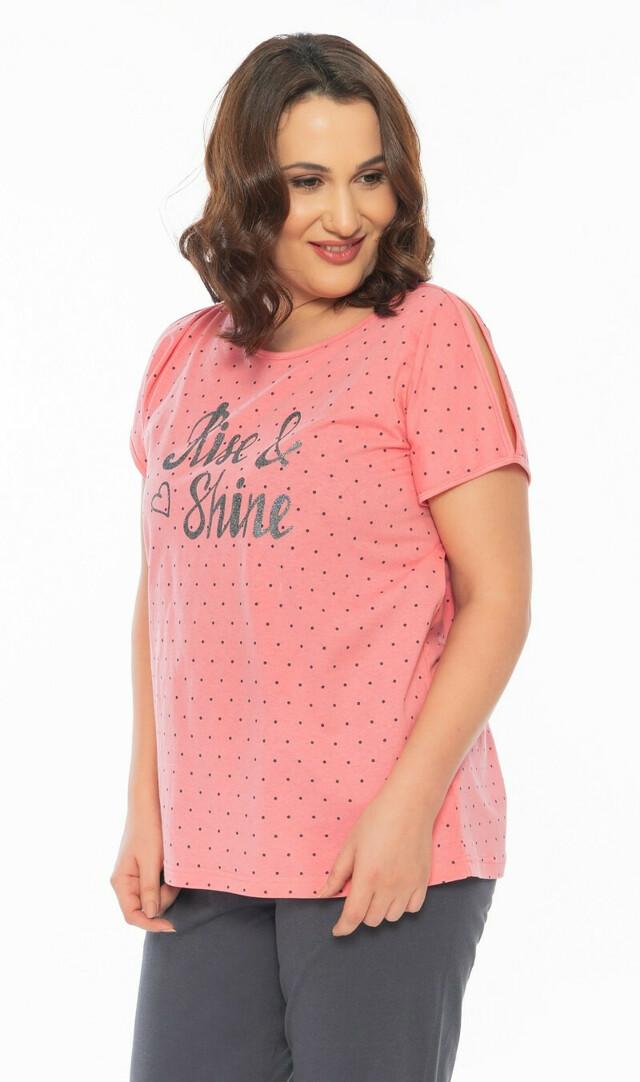 Dámské pyžamo kapri Shine - tmavě šedá 1XL