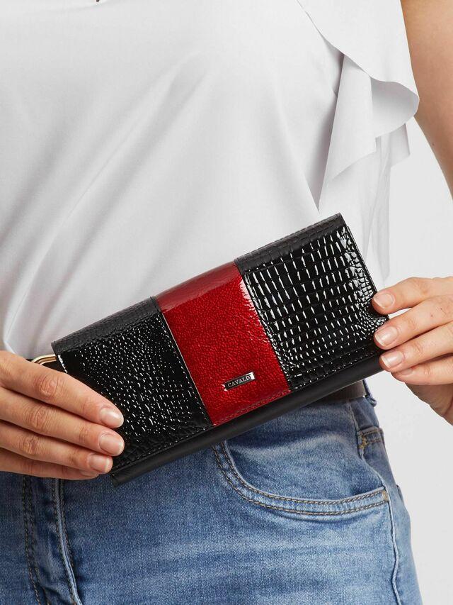 Třešňově černá kožená dámská peněženka - jedna velikost