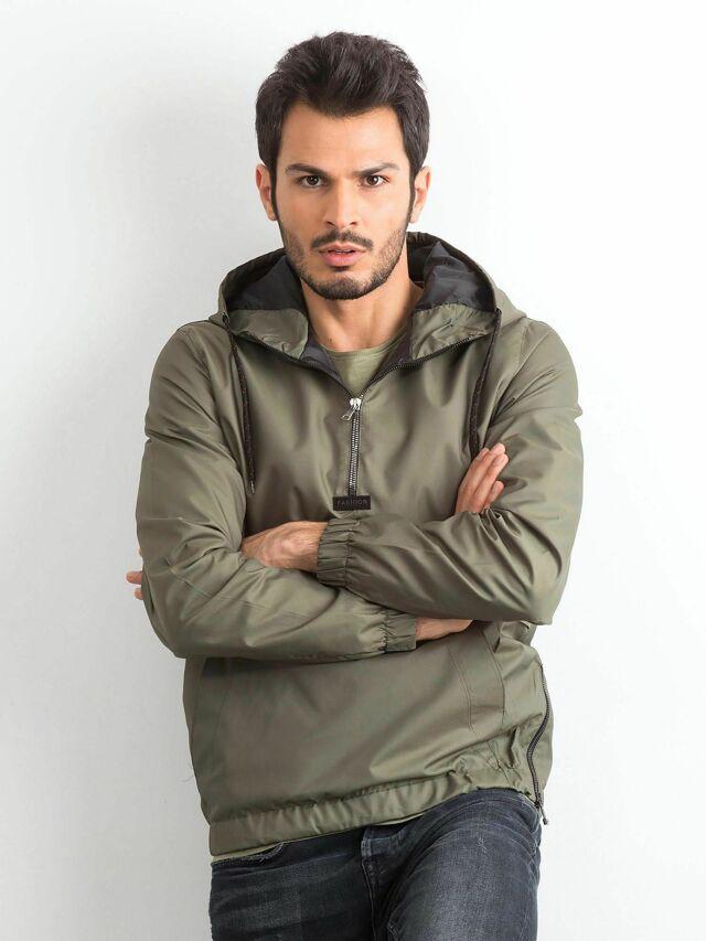 Pánská khaki větrovka s kapucí - XL