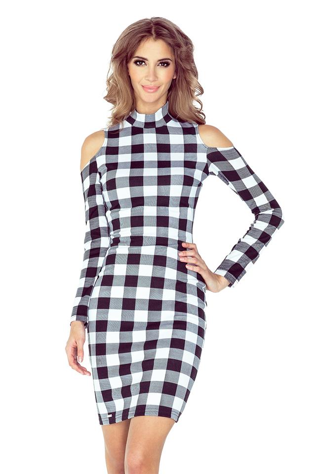 Černo-bílé šaty s dlouhými rukávy MM 008-2 - S