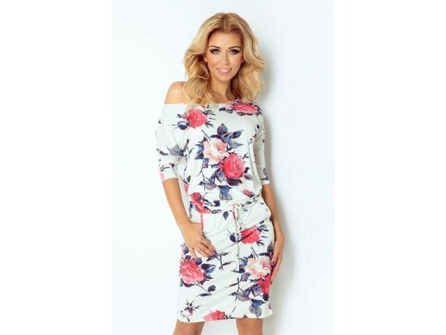 Dámské šaty 13-49 - Numoco - XL - bílá s květinovým vzorem