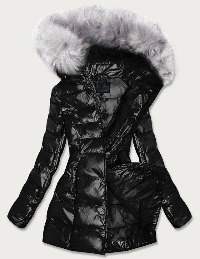 Černá dámská lesklá zimní bunda (GWW1939) - XXL (44) - černá