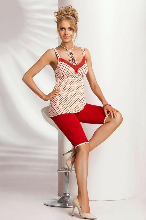 Dámské pyžamo Donna Candy PJ 3/4 - XL - krémová-červená