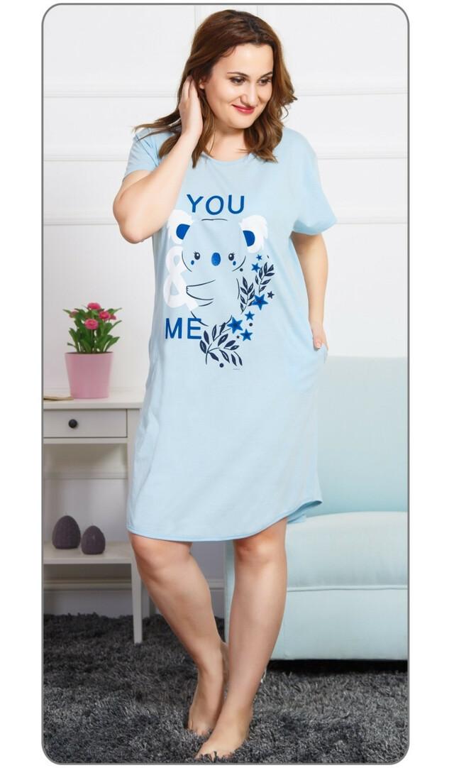 Dámské domácí šaty s krátkým rukávem Koala - světle lososová 4XL 518c086dd5