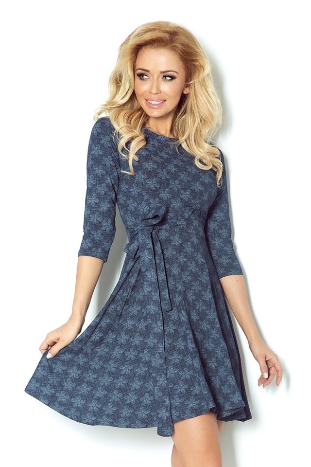 Tmavě modré rozšířené šaty s 3/4 rukávy 49-10