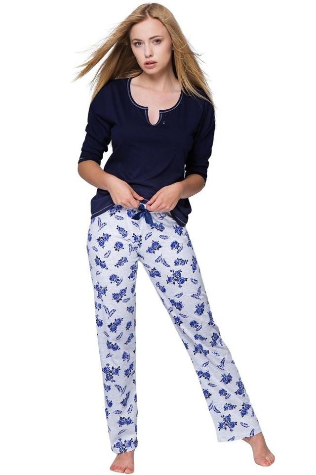 Dámské pyžamo Rosalie modré růže - XL
