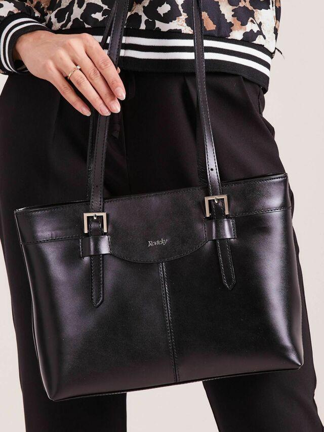 Elegantní černá kožená kabelka - ONE SIZE
