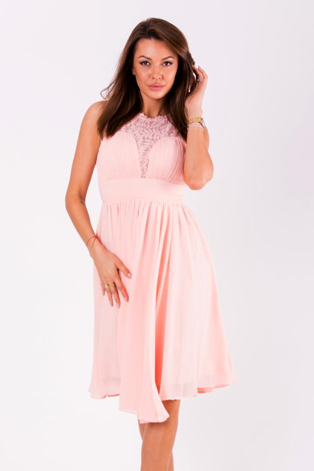 c0c420339bb7 Pudrově růžové šaty EVA LOLA 51003-1 - M