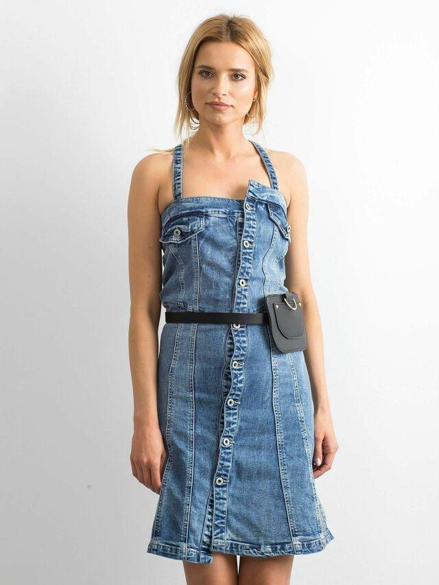 Modré riflové šaty s popruhy - XS