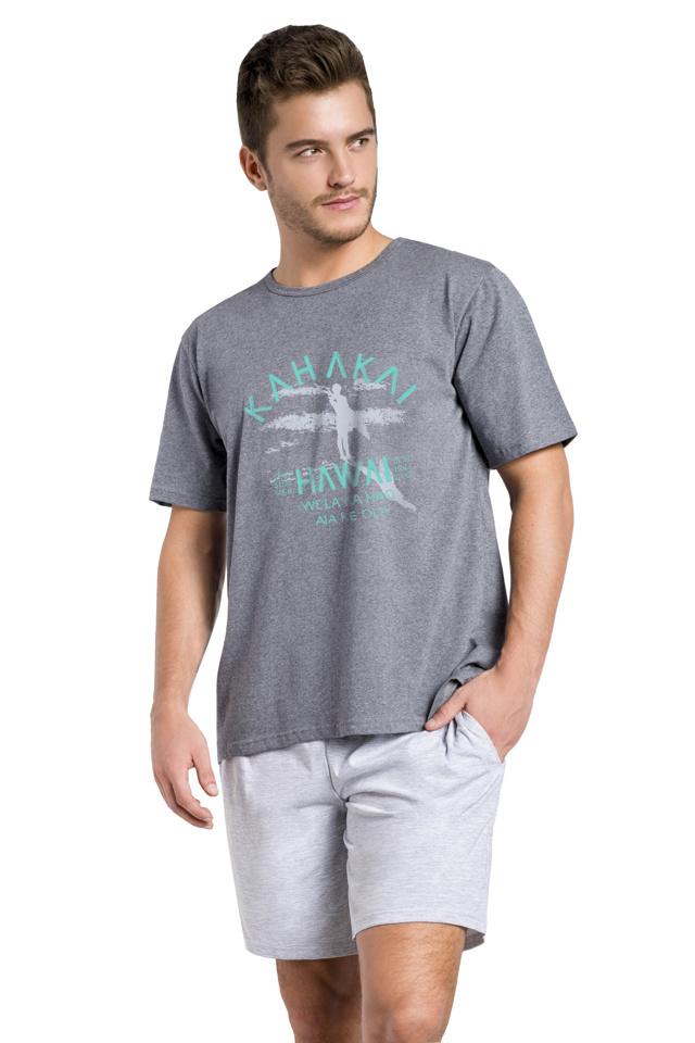 Krátké pánské pyžamo Karel tmavě šedé - XL