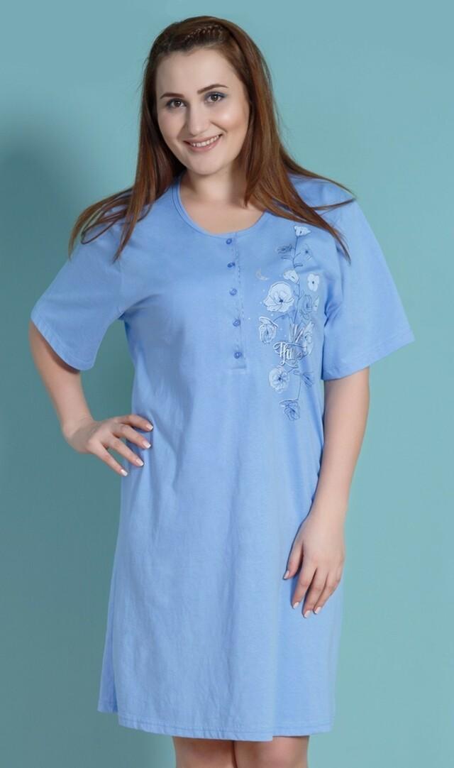 Dámská noční košile s krátkým rukávem Vlčí máky - Vienetta - 2XL - modrá