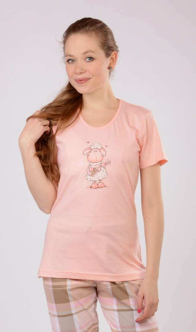 Dámské pyžamo kapri Ovce s kytarou - lososová XL