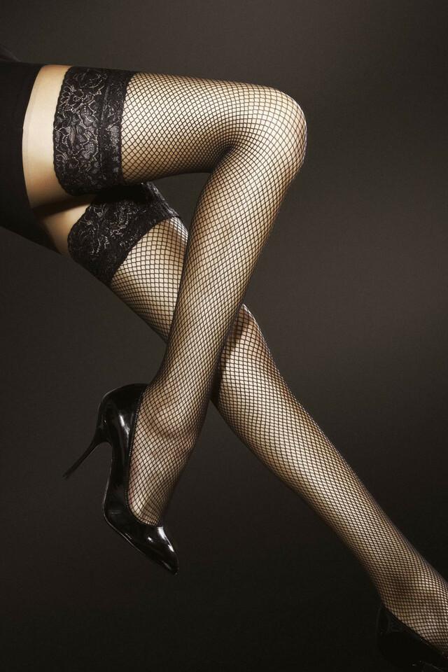 Samodržící punčochy Fiore Liza - 4-L - black