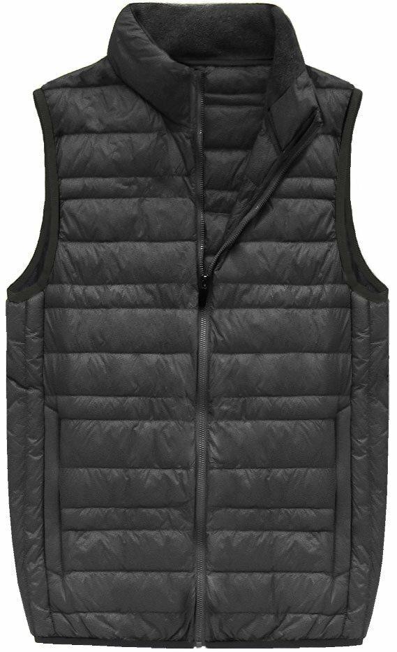 Šedá pánská vesta s přírodní vycpávkou (5008) - M - šedá