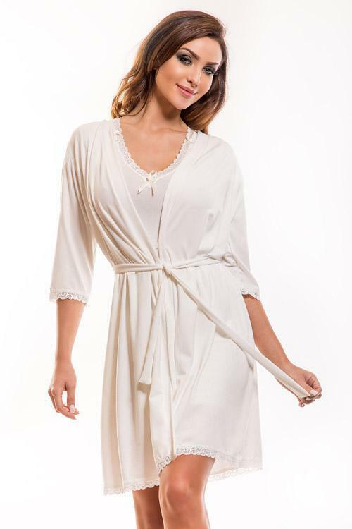 Dámský župan Hamana Virginia gown ecru - L/XL - krémová