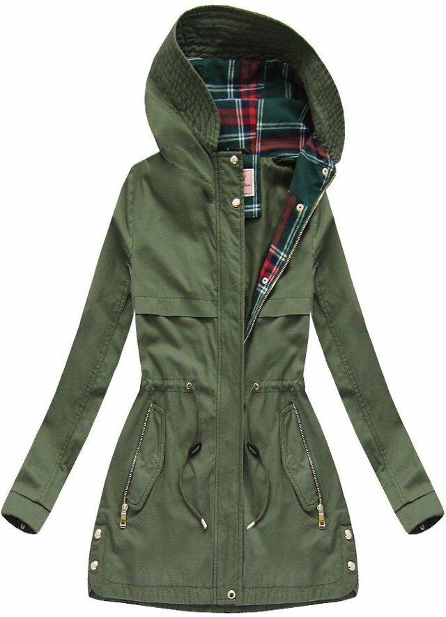 Bavlněná bunda parka v khaki barvě s kapucí 1 (W153) - XS (34) - khaki