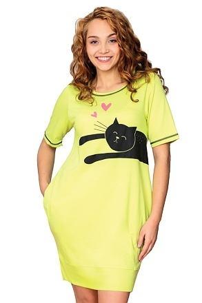 Zelená dámská noční košilka s kočkou - M