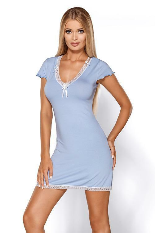 Noční košilka Hamana Virginia light blue - XL - světle modrá