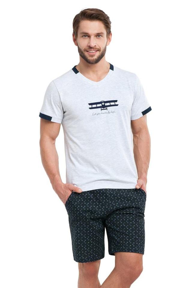 Pánské pyžamo Aldo šedé letadla - XL