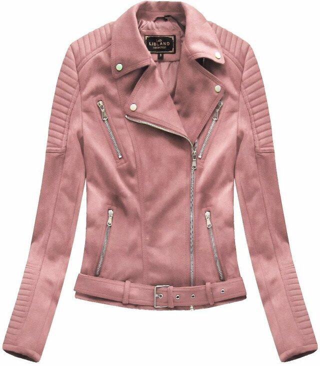 Růžová dámská bunda ramoneska se sponou (6008) - S (36) - růžová