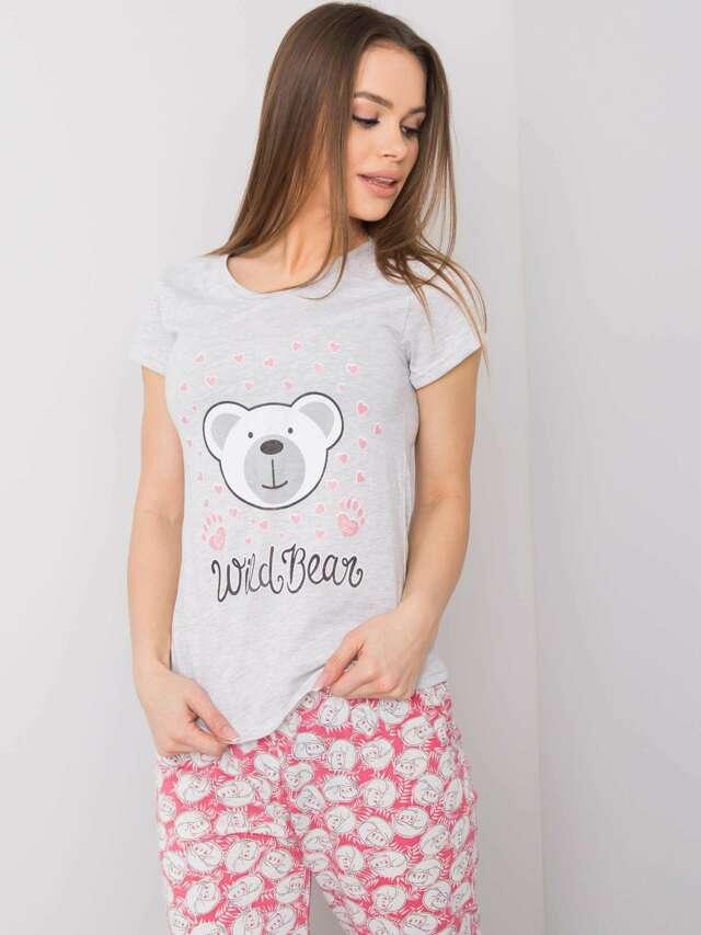 Šedé dámské bavlněné pyžamo - XL