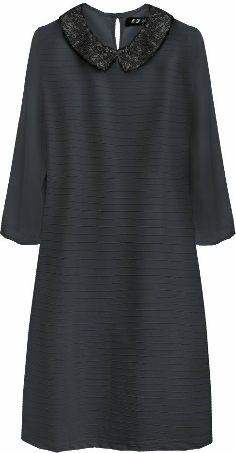 f43ffa24223b Tmavě modré dámské šaty s límečkem (6107) - L (40) - tmavěmodrá
