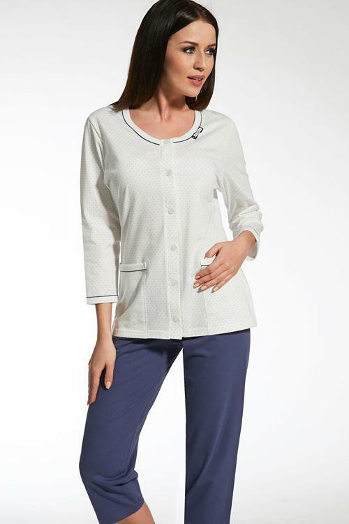 Dámské pyžamo Cana 314 - XL - bílá-granátová (modrá)