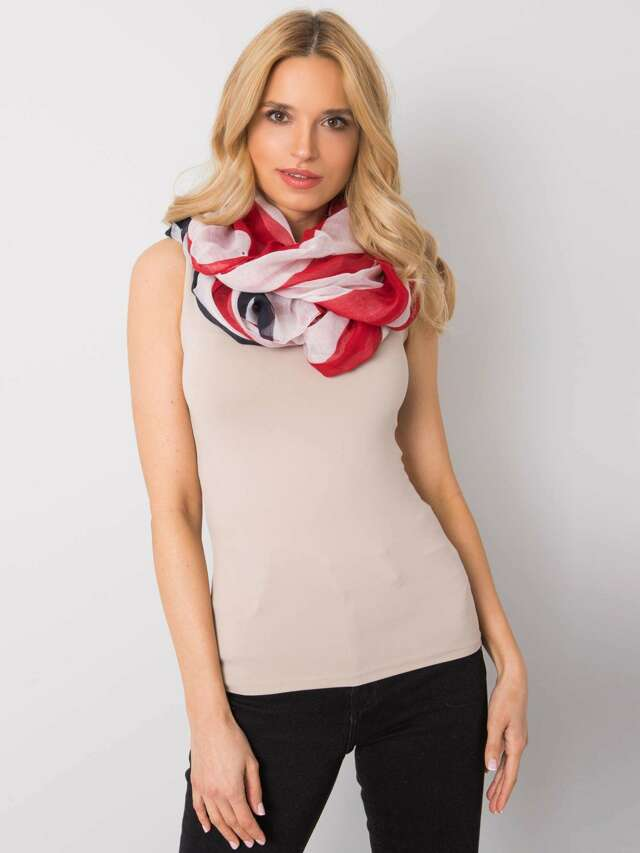 Dámský bílý a červený šátek - jedna velikost