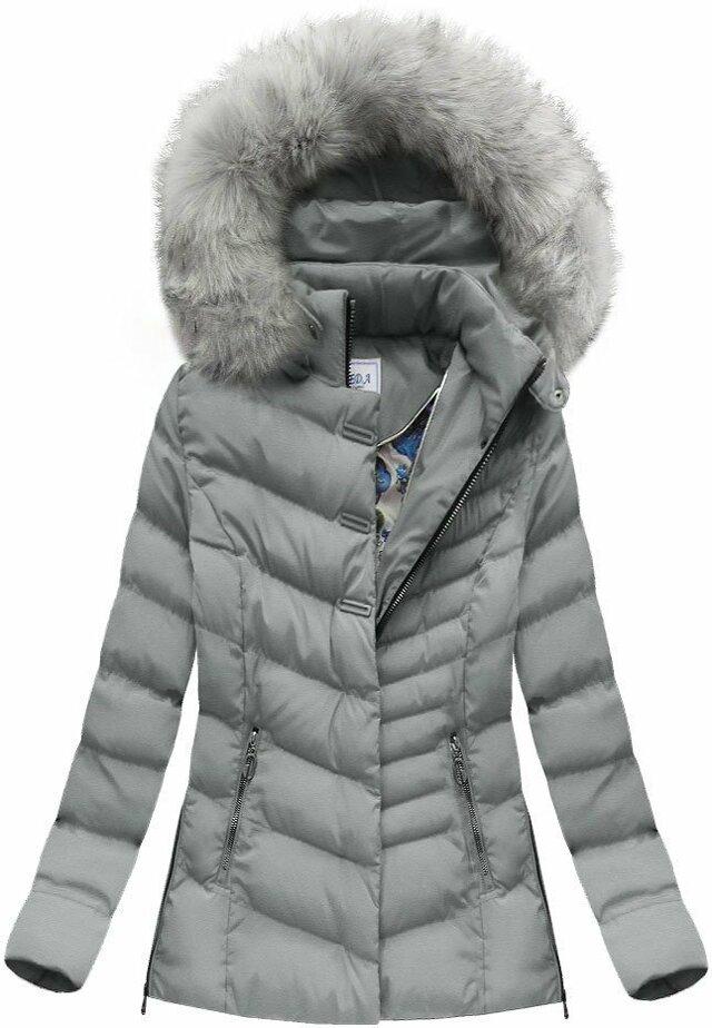 Šedá dámská zimní bunda (W583) - S (36) - šedá
