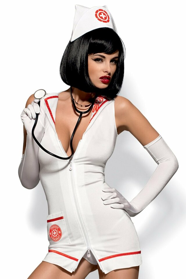 Erotický kostým Emergency dress stetoskop - XXL - bílá