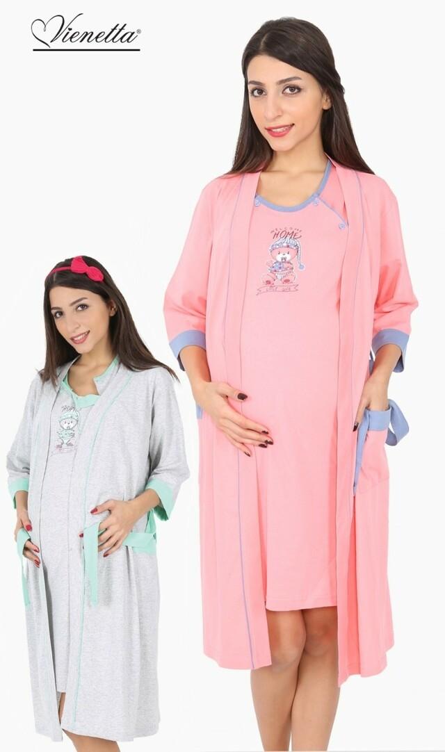 Dámský župan s mateřskou košilí Méďa s dudlíkem - lososová S