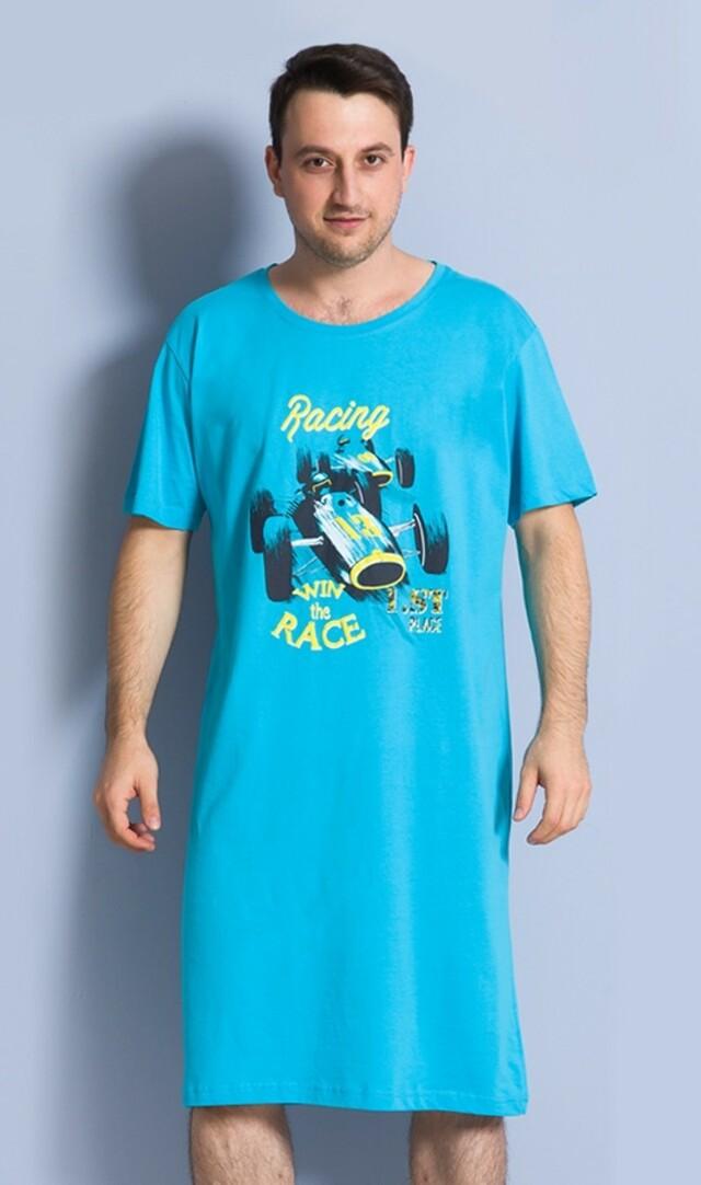 Pánská noční košile s krátkým rukávem Závodní auto - tyrkysová L