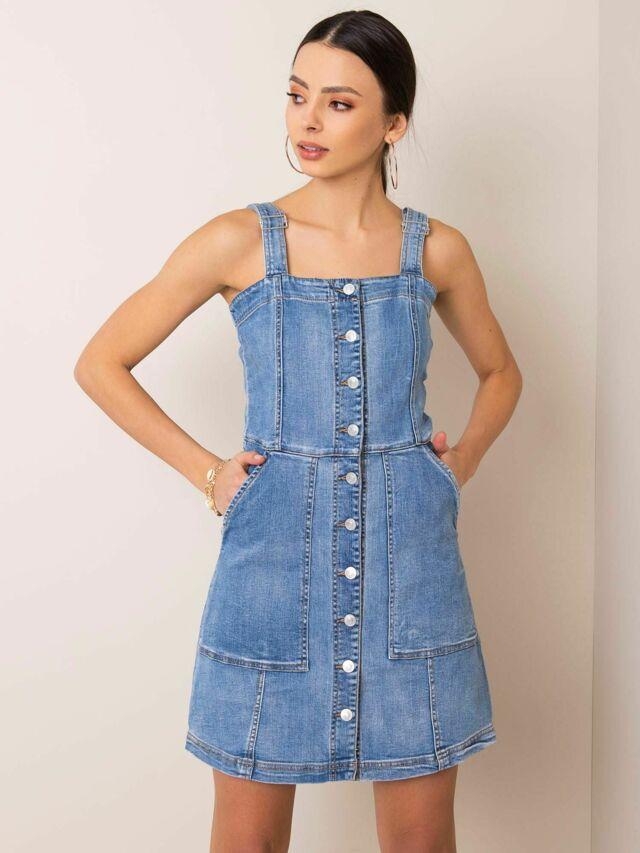 Modré riflové šaty - L