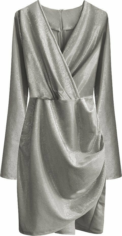 Stříbrné dámské šaty s drapovanou spodní částí 1 (509ART) - S (36) - stříbrná