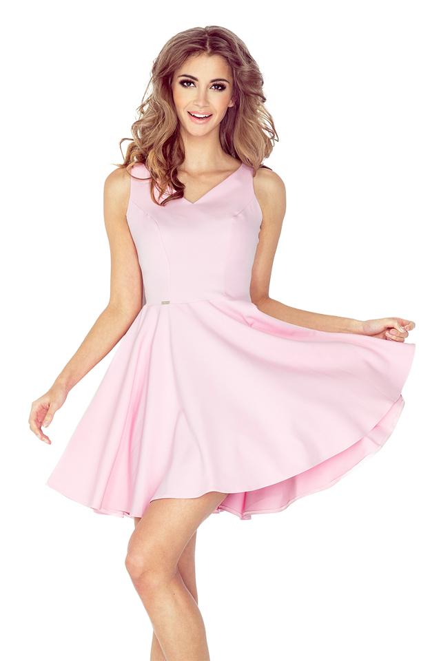 Pastelově růžové šaty s kolovou sukní MM 014-2 - S
