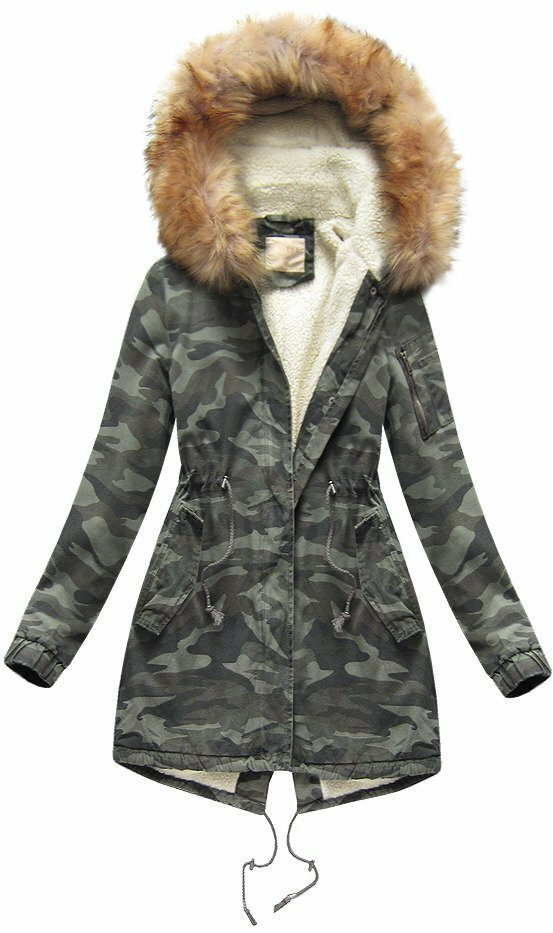 Khaki dámská bunda se vzorem moro (B1309) - XL (42) - khaki e4083527fb8