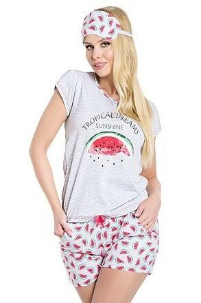 Dámské pyžamo Vanessa Tropical šedé - L